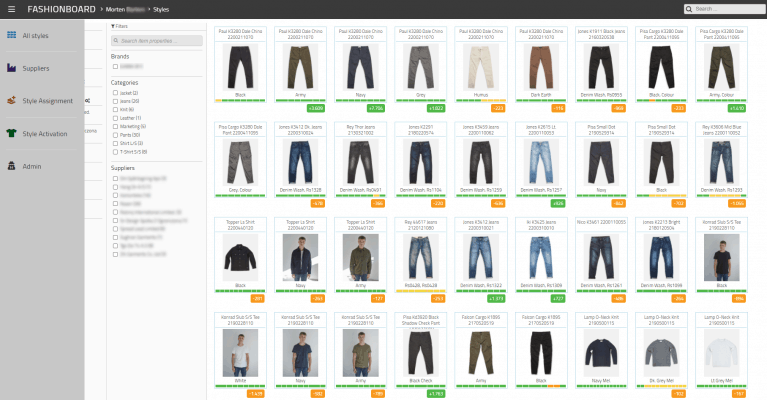 With FashionBoard demand planning, you can quickly overview all styles in a visual way. making it fast and easy to spot future problems